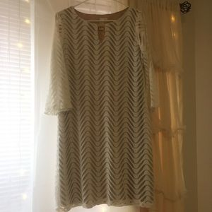 NWOT Cream Colored Dress with White Lace Overlay